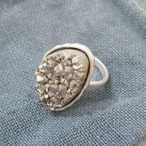 Titanium Druzy Stone Silver Tone Metal Ring 8.5 D2